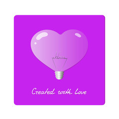 Electric light bulb in shape of heart. Realistic purple lamp with the word idea inside. Greeting Card Valentine's Day. Inspiration concept. Handwriting Created with love