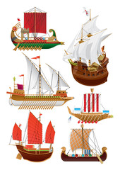set of vintage sailboats