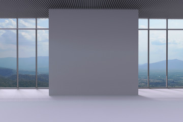 White Wall and panoramic window background in the space