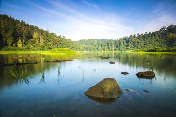 Stone in lake