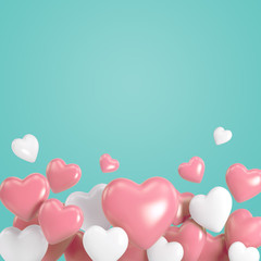 Group of white and pink heart balloons on background