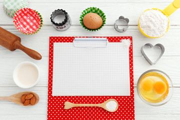 Baking background with clipboard