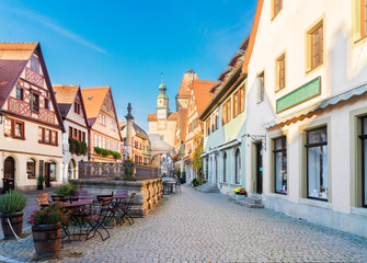 Marcus Tower with fountain and Roderbogen arch in Rothenburg ob der Tauber, Germany