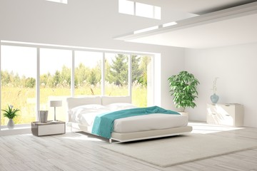 Modern bedroom interior design with green landscape in window