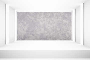 White empty room with stage for backdrop design template pr blank layout background design