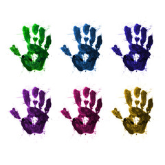 a set of handprints with paint in different colors