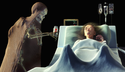 skeleton giving poison to a frightened old woman in the hospital