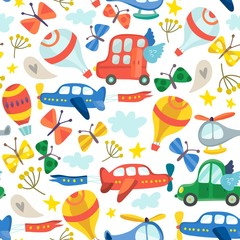 Vector amazing patter of cars, airplanes air balloons, flowers and birds.  Floral pattern in childish style in awesome colors, spring floral background.
