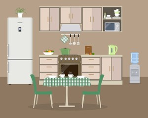 Kitchen in a beige color. There is a kitchen furniture, a refrigerator, a stove, a water cooler, a table, two green chairs and other objects in the picture. Vector flat illustration