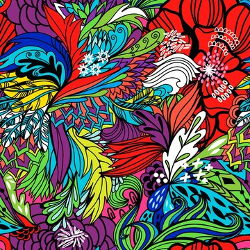 Vector seamless pattern of abstract flowers and waves.