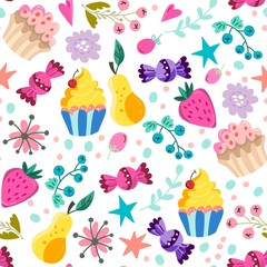 Vector seamless pattern of sweets: cupcakes, berries and candies.