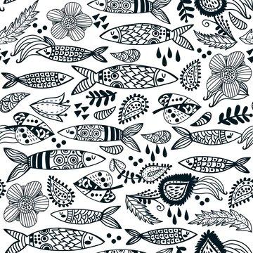 Vector seamless pattern of sardines