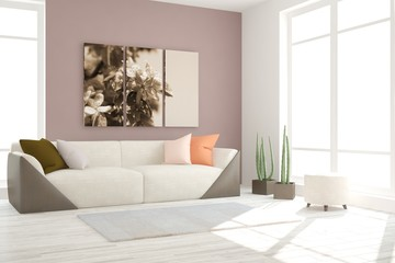 White interior design with sofa