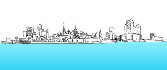 Hamburg Panorama Vektor Skizze, Blaues Wasser