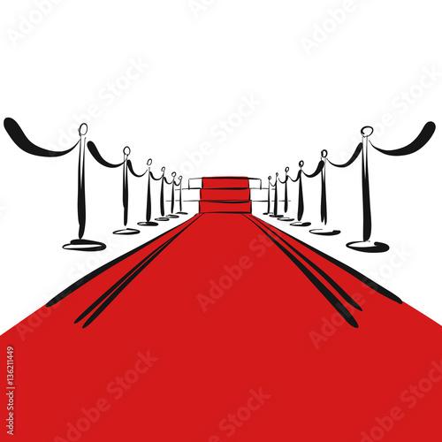 Roter Teppich mit Stufen auf Bühne, Hintergrund Stock
