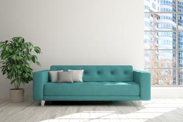 Modern interior design with sofa and urban landscape in window