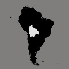 Territory of Bolivia on South America map on the grey background