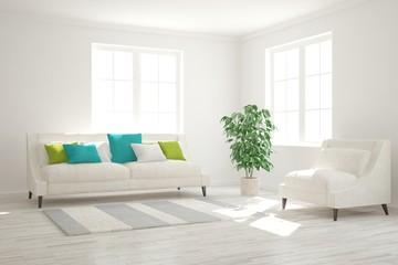 Modern interior design with sofa