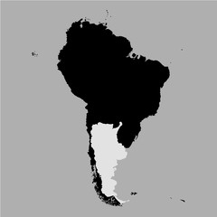 Territory of Argentina on South America map on the grey background
