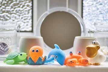 Colourful bathroom plastic toys