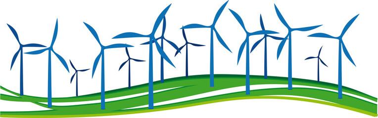 Windräder im Windpark - farbige Shilouette
