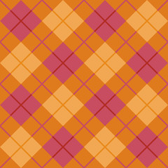 Bias Plaid seamless pattern in orange and pink.