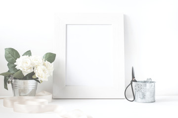 Picture Frame With Flower Bouquet.