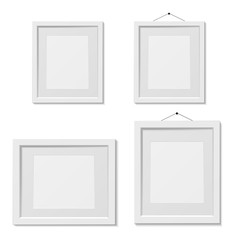 Set of white picture frame template, isolated, vector illustration