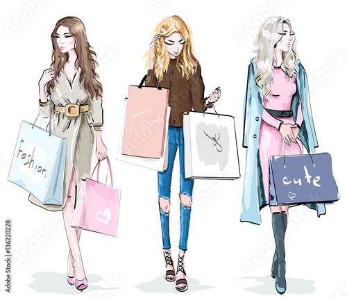 quotset of beautiful young girls with shopping bags fashion
