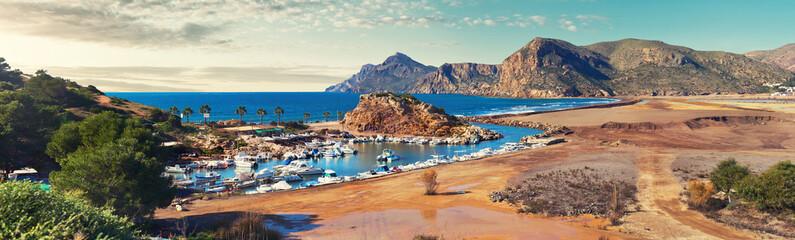 Picturesque panorama of Portman village. Spain