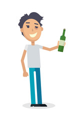 Man with Bottle of Wine Isolated on White. Vector