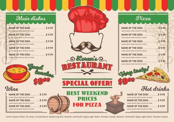 Vector illustrations Italian restaurant menu, a cafe