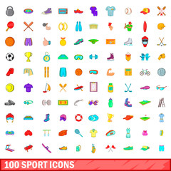 100 sport icons set, cartoon style