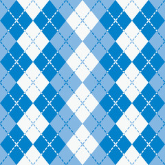 Dashed Argyle seamless pattern in blue and white.