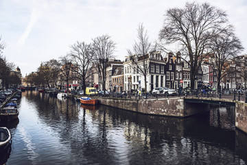 Amsterdam canal bridge and houses