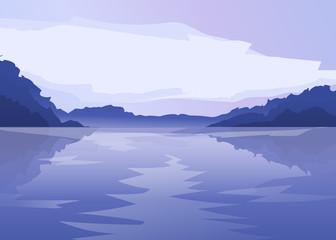 vector flat lake landscape nature banner