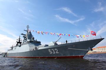 Russia. Saint Petersburg. Military ships parade
