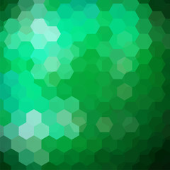 Abstract background consisting of green hexagons. Geometric design for business presentations or web template banner flyer. Vector illustration