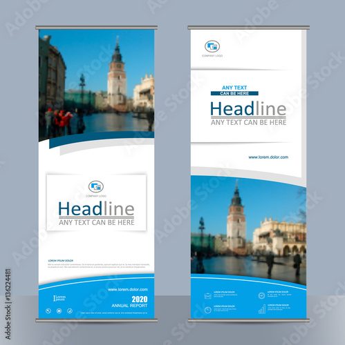 set business roll up banner with geometric shapes abstract