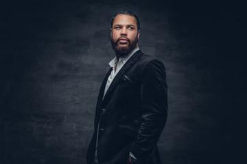 Black man in a wool suit.