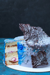 Homemade white and blue biscuit cake with Cream Cheese and choco