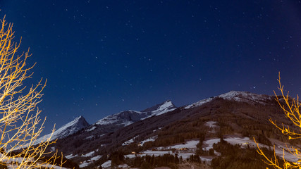 clear starry winter night in the alps