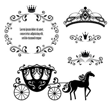 Vintage frame with crown, ornamental style diadem and carriage.