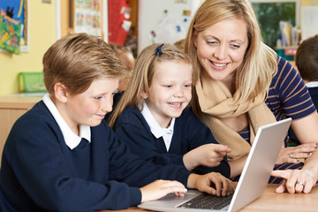 Teacher Helping Elementary School Pupils In Computer Class