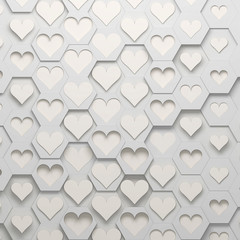Hearts and hexagons, 3d illustration
