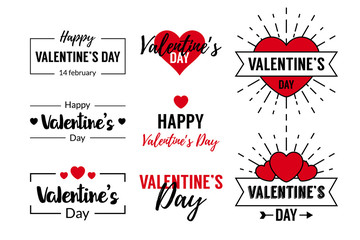 Valentines Day Typographic Text Design Wall mural