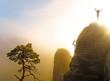 Bergsteiger auf dem Gipfel in Siegerpose