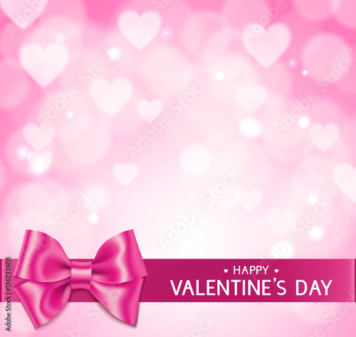 Pink Valentine\'s Day background with hearts, bow and horizontal ...