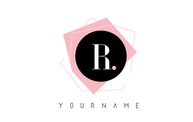 R Letter Pastel Geometric Shaped Logo Design.