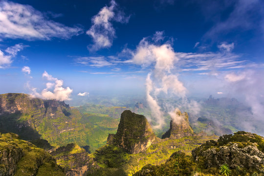 Ethiopia. Simien Mountains National Park. View from Imet Gogo peak